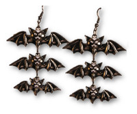 Vampiress 3 Dangling Bats Earrings Halloween Gothic Costume Jewelry Accessory