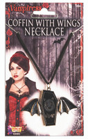 Vampire Coffin With Wings Necklace Bat Face Adult Costume Accessory Goth Jewelry