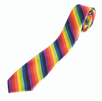 Rainbow Striped Long Neck Tie Zipper Tie Adult Novelty Costume Accessory Pride