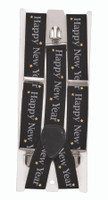 Happy New Year NYE Eve Party Suspenders Stars Black Adult Costume Accessory