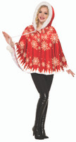 Women's Red Velvet Christmas Holiday Snowflake Hooded Capelet Costume Accessory