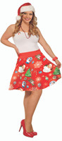 Christmas Eve Holiday Vintage Retro Print Skirt Full Flared Women's Plus Size
