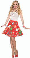 Christmas Eve Holiday Vintage Retro Print Skirt Full Flared Womens Standard Size