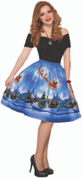 Christmas Eve Holiday Vintage Retro Print Dress Flared Women's Standard Size