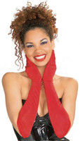"Red Opera Length Gloves with Buttons Vintage Look Evening 20"" Long Adult Women"
