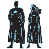 Hero Silhouettes Superhero Party Decoration Supply Prop Cardboard Cutouts 2/PK