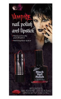 Fun World Vampire Black Nail Polish & Lipstick Set Make-up Halloween Gothic