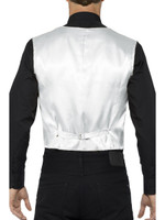 Silver Sequin Waistcoat Costume Vest Mens Adult Christmas Disco Showbiz  SM-XL