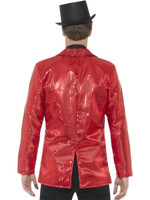 Red Sequin Costume Jacket Mens Adult Disco Dance Showbiz St. Valentine SM-XL