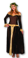 Medieval Maiden Mistress Adult Women's Costume Full Length Velvet Dress XS-LG