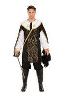Royal Renaissance Guard Black Musketeer Adult Men's Halloween Costume STD-XXL