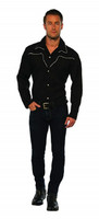Men's Black Rodeo Cowboy Shirt Adult Costume Western Sheriff Wild West MD-XL
