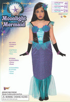 Girl's Moonlight Mermaid Costume Child Siren Under The Sea Dress Halloween SM-LG