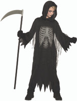 Night Reaper Kids Halloween Costume Hooded Black Robe Child Skeleton Chest SM-LG
