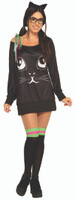 Co-Ed Kitty Feline Cat Women's Halloween Casual Costume Shirt & Knee Highs STD