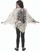 Tattered Skeleton Poncho Childs Halloween Costume Accessory Front Back One Size