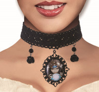 Frotune Teller Crystal Ball Cameo Choker Necklace Black Lace Costume Jewelry