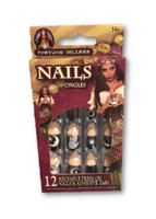 12 Fortune Teller Gypsy Fake Finger Nails Press On Reusable Whimsical Moon Stars