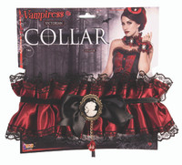 Vampiress Victorian Ruffled Collar Lace Burgundy Satin Cameo Costume Accessory