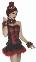 Vampiress Victorian Ruffled Wrist Cuffs Lace Burgundy Satin Cameo Costume Access