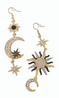 Celestial Sun Moon & Stars Earrings Rhinestones Long Dangle Costume Jewelry