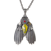 Industrial Steampunk Bug Pewter Necklace Moth Insect Pendant Jewelry Women