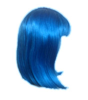 "UV Glow Neon Blue Wig Page Boy Rave EDC Cosplay Costume Accessory 14"" Straight"