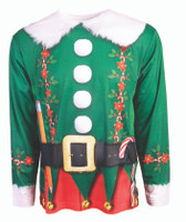 Instant Elf Sublimated Long Sleeve T-Shirt Adult Ugly Christmas Sweater MD-XL