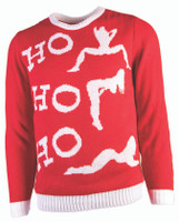 Naughty Ho Ho Ho Knitted Ugly Christmas Sweater Bad Santa Xmas Adult MD-XL