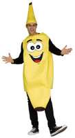Funny Banana Adult Unisex Costume Fruit Food Foodie Yellow Tunic & Hat OS
