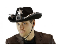 Black Felt Cowboy Hat with Guns Adult Mens Wild West Western Costume Accessory