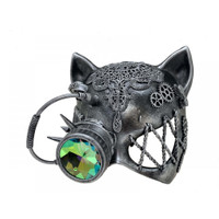 Silver Steampunk Kitty Cat Woman Costume Half Mask with Goggle Adult Masquerade