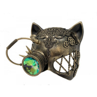 Gold Steampunk Kitty Cat Woman Costume Half Mask with Goggle Adult Masquerade