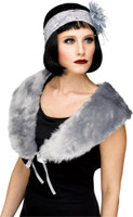 1920's Grey Stole Womens Flapper Plush Faux Fur Shoulder Cape Costume Accessory