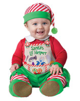 Adorable Santa's Little Helper Lil' Elf Baby Christmas Costume Jumpsuit 0-24M