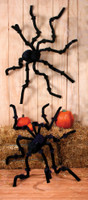8ft. Huge Poseable Spider Furry Halloween Decoration Black Creepy Crawler Prop