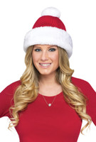 Red Knit Santa Hat White Fun Fur Adult Unisex Women Men Costume Accessory