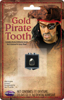 Gold Pirate Tooth Cover Custom Fit Adult Costume Accessory Buccaneer w Adhesive