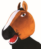 Brown Horse Mascot Animal Head Mask School Sports Events Adult Costume Accessory
