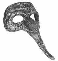Textured Antique Silver Venetian Mask Masquerade Costume Accessory Long Nose