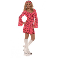 Retro 60s 70s Womens Love Costume Fancy Dress Mod Go-Go Peace Sign Pink Small