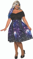 Celestial Constellation Print Dress Plus Adult Womens Costume Galaxy Space 18-22