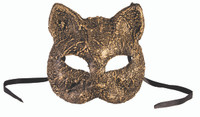 Antique Gold Kitty Cat Half Mask Venetian Masquerade Costume Accessory