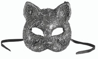 Antique Silver Kitty Cat Half Mask Venetian Masquerade Costume Accessory