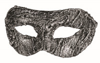 Textured Antique Silver Venetian Eye Mask Adult Masquerade Costume Accessory