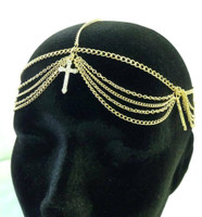 Head Chain Gold Tone Hair Cross Accessory Jewelry Boho Trendy Bridal Clear Gem