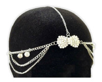 Head Chain Silver Tone Rhinestone Hair Bow Accessory Jewelry Boho Trendy Bridal