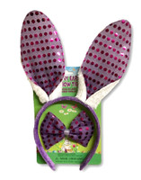 Bunny Ears & Bowtie Kit Purple Sequins Headband Easter Rabbit Costume Accessory
