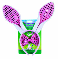 Bunny Ears & Bowtie Kit Pink Sequins Headband Easter Rabbit Costume Accessory