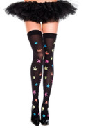 Music Legs Multicolor Leaf Print Thigh Highs Rainbow Pot Marijuana Print OS